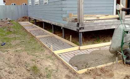Заливка бетона в отмостку